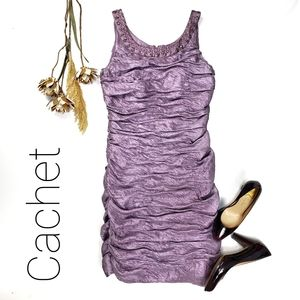 Cachet Stunning Purple Rouged Ruffled Dress 10